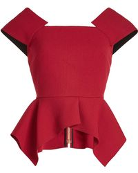 Roland Mouret - Wool Top With Peplum - Lyst