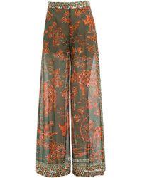 Valentino - Printed Cotton Wide Leg Pants - Lyst