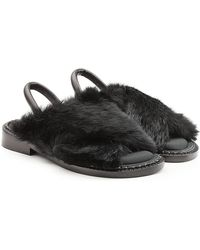 Robert Clergerie - Leather Sandals With Rabbit Fur - Lyst