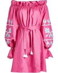 MARCH11 - Embroidered Linen Mini Dress - Lyst