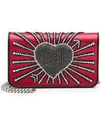 Les Petits Joueurs - Ginny Heart Cupid Embellished Satin Shoulder Bag - Lyst