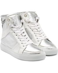 Zadig & Voltaire - Leather High-tops With Glitter - Lyst