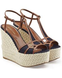 Sergio Rossi - Leather And Denim Wedge Sandals - Lyst