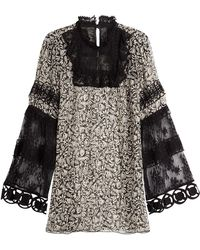 Anna Sui - Printed Silk Tunic With Lace - Lyst