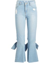 SJYP - Bow Detail Cropped Jeans - Lyst