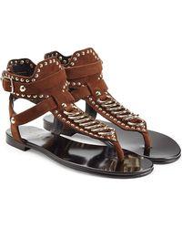 Balmain - Embellished Suede Sandals - Lyst