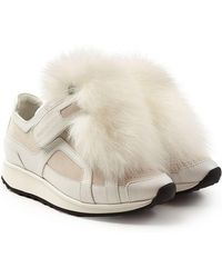 Pierre Hardy - Platform Leather Sneakers With Fox Fur - Lyst