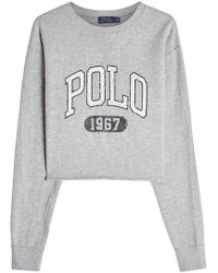 Polo Ralph Lauren - Cropped Cotton Sweatshirt - Lyst