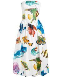 Stella Jean - Printed Cotton Strapless Dress - Lyst