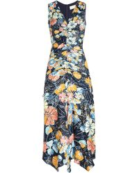 Peter Pilotto - Printed Satin Ruched Dress - Lyst