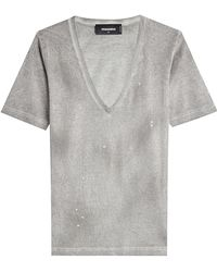 DSquared²   Distressed Cotton T-shirt   Lyst