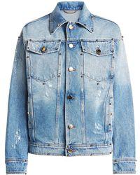 Versace - Embellished Denim Jacket With Printed Silk - Lyst