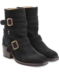 Fiorentini + Baker | Buckled Suede Mid Height Boots | Lyst