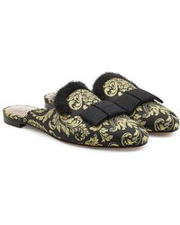 Tabitha Simmons - Damask Slippers With Mink Fur - Lyst