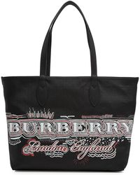 Burberry - The Medium Doodle Reversible Tote With Leather - Lyst