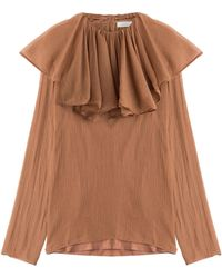 Nina Ricci - Silk Crepe Blouse With Ruffled Collar - Lyst