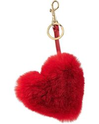Anya Hindmarch - Heart Keychain With Leather And Rabbit Fur - Lyst