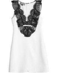 Giambattista Valli - Mini Dress With Ruffled And Lace Bib - Lyst