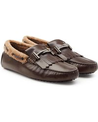 Tod's - Leather Loafers With Shearling Insole - Lyst