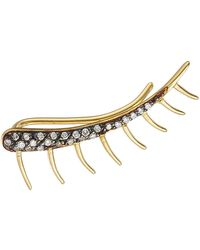 Ileana Makri - 18k Yellow Gold Eyelash Ear Cuff With White Diamonds - Lyst
