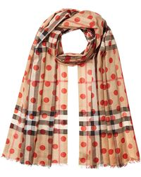 Burberry - Printed Check Scarf In Mulberry Silk And Wool - Lyst