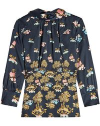 3e27282d04f74a Lyst - Peter Pilotto Ladies Black Floral-print High-neck Silk Top in ...