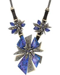Alexis Bittar - Mixed Metal Necklace With Leather And Crystals - Lyst