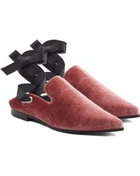 Self-Portrait - Lubat Velvet Mules With Self-tie Ribbon Straps - Lyst