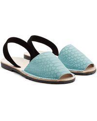 Del Rio London - Embossed Suede Sandals - Lyst