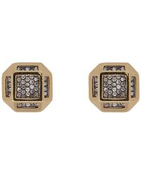 Noor Fares - 18kt Gold Cube Cage Earrings With Diamonds - Lyst