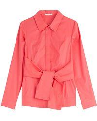 Paule Ka - Belted Cotton Shirt - Lyst