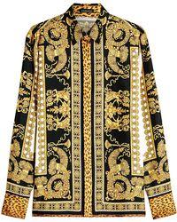 Versace - Printed Silk Blouse - Lyst