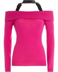 Moschino - Off-the-shoulder Wool Top With Halter Neckline - Lyst