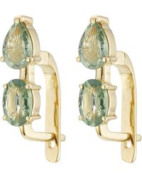 Ileana Makri - 18k Yelow Gold Earrings With Green Sapphires - Lyst