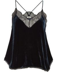 Zadig & Voltaire - Christy Camisole With Silk And Lace - Lyst