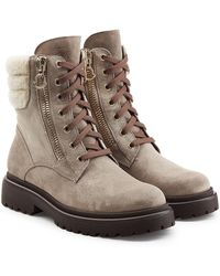 c71a21fdab3b Moncler Tan Shearling Boots in Brown - Lyst