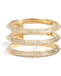 Ileana Makri - 18kt Yellow Gold Triple Disc Ring With White Diamonds - Lyst