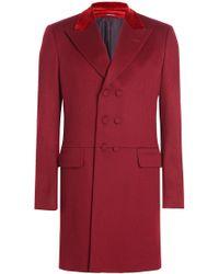 Alexander McQueen - Wool Coat With Velvet - Lyst