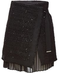 Karl Lagerfeld - Boucle Skirt With Pleated Insert And Sequins - Lyst