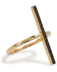 Ileana Makri - 18k Yellow Gold Cross Over Ring With Black Diamonds - Lyst