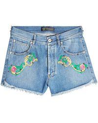Versace - Embroidered Denim Shorts - Lyst