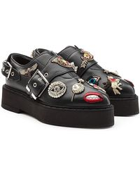 Alexander McQueen - Embellished Leather Monk Shoes - Lyst