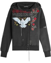 Alexander McQueen - Embroidered Cotton Sweatshirt With Lace-up Detail - Lyst