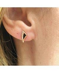 Dezso by Sara Beltran | Deco Shark Fin Enameling Diamond Earrings | Lyst