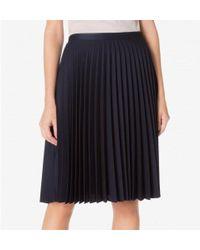 Sunspel - Women's Tropical Wool Sunray Pleat Skirt In Navy - Lyst