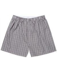Sunspel - Men's Cotton Boxer Shorts In Gingham Grey - Lyst