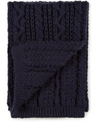 Sunspel - Lambswool Cable Knit Scarf In Navy - Lyst