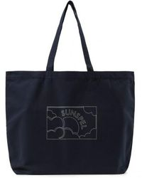 Sunspel - Printed Canvas Tote Bag In Navy - Lyst