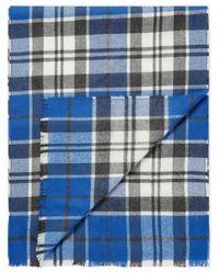 Sunspel - Extra Fine Merino Wool Scarf In Klein Blue/off White Check - Lyst