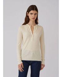 Sunspel - Women's Fine Merino Knitted Rib Henley In Archive White - Lyst